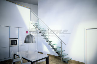essenza, scala, faraone, лестница, маршевая, стеклянная, лофт