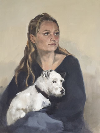 Painted portrait of a girl and her dog by portrait painter Philine van der Vegte