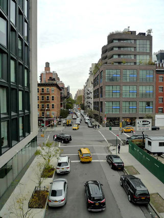 View on the street from the High Line