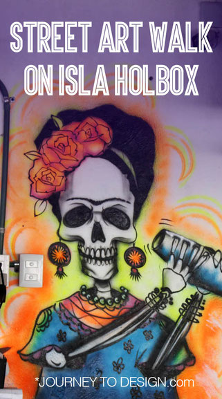 Street art walk on Isla Holbox Mexico