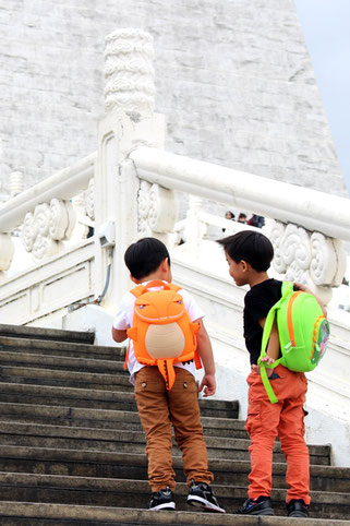 Two boys standing on the stairs to Chiang Kai-Shek Memorial