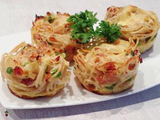 Spaghettimuffins Schinken Erbsen Parmesan Käse