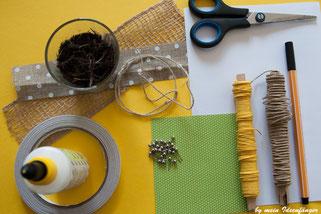 Materialliste für die Herstellung der DIY Papierdrahtblumen