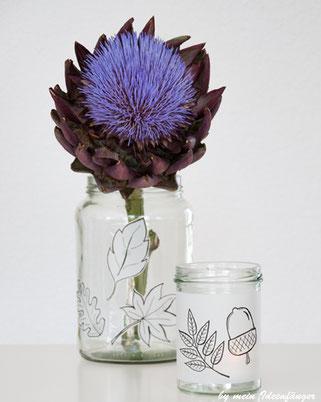 Herbstdeko: Upcycling eines Einmachglases - Votivkerze mit herbstlichen Motiven
