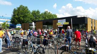 Hundreds of bikes parked outside a control at Paris-Brest-Paris 2015