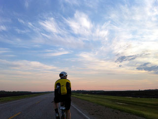 Enjoying the beautiful sunset after cycling overnight during a Manitoba Randonneurs brevet