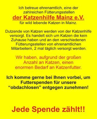 Engagement der Tierbetreuungs-Agentur Lorenz Noll bei der Katzenhilfe Mainz. Ihre Tierbetreuung und Katzenbetreuung für Mainz, Wiesbaden, Taunusstein, Idstein, Eppstein, Hofheim, Hattersheim, Bad Kreuznach,  Worms, Alzey und Bad Soden.