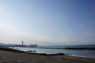 とっても穏やかな日本海。水平線に佐渡島も見えました