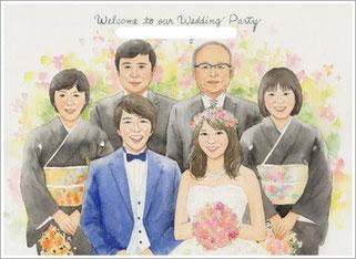 B4サイズ結婚式の似顔絵