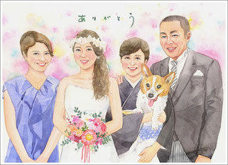 A4サイズ結婚式の似顔絵