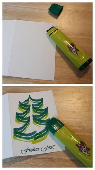 Wir basteln eine Weihnachtskarte: mit dem Trio Magic-Stift entsteht ein wundervoller Weihnachtsbaum