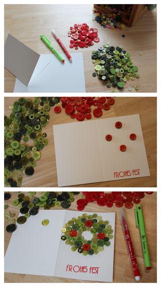 Wir basteln eine Weihnachtskarte: aus grünen und roten Knöpfen entsteht ein Adventskranz