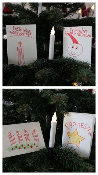 Unsere Große hat Weihnachtskarten entworfen