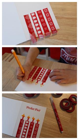 Wir basteln eine Weihnachtskarte: mit Washi Tape strahlen die Kerzen