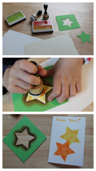 Wir basteln eine Weihnachtskarte: mit Stempeln entstehen strahlende Sterne