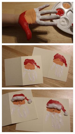 Wir basteln eine Weihnachtskarte: Ho Ho Ho - hier kommt der Handabdruck-Weihnachtsmann
