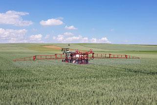 Traktor bringt Fungizide in einem Feld aus (Bild: Landeswasserversorgung Stuttgart)
