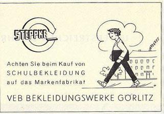 Reklame Steppke Schulbekleidung von 1956
