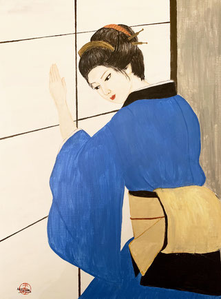 Japanese Nihonga painting Geisha Maiko Japanese girl in blue kimono closing a shoji door at a teahouse art for your home traditional Asian artwork for sale