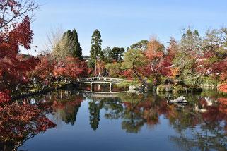 永観堂の池の紅葉