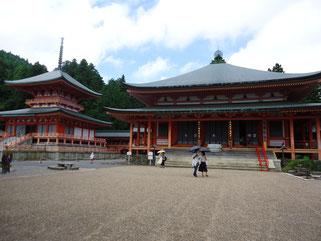東塔(左)と阿弥陀堂(右