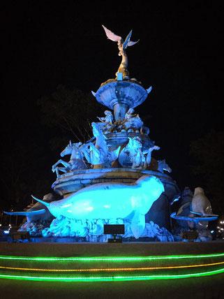 Ein Brunnen zu Ehren der berühmten Dugongs (Seekühe) in Trang