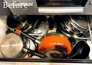 片付け事例:取り出しにくい、キッチンのコンロ下収納