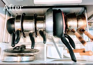 片付け事例:専用ラックを使用して見やすく、出しやすく収納