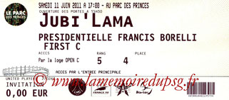 Ticket  Jubilé Lama  2010-11