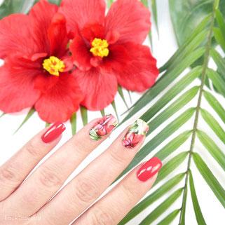 Stickergigant • Dschungelhibiskus nailsticker / nailwraps • p2 double agent