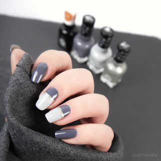 Sally Hansen • miracle GEL • Slate-r Girl • Buffalo Nickel • Greyfitti linear nailart