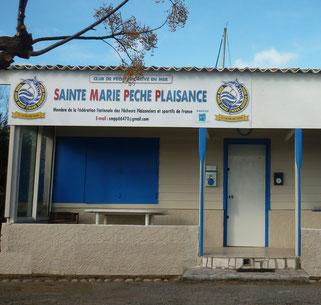 le chalet du club de pêche en mer de Sainte Marie la mer Pêche Plaisance. La SMPP 66470