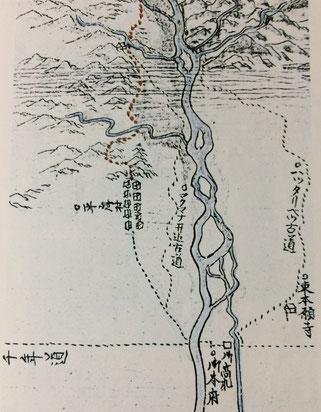 本願寺道路と平岸(高見沢権之丞絵図面 北大北方資料室蔵)