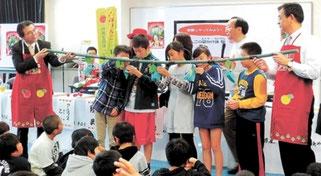 北九州市の小学校で開かれた青森県知事によるアップルスクール(Yahooニュース 河北新報)