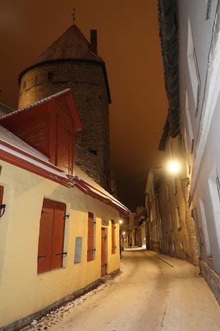 Tallinn bei Nacht, wunderschön beleuchtet