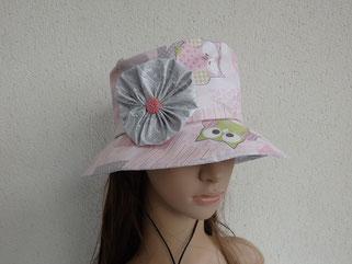Chapeau de pluie chouette rose