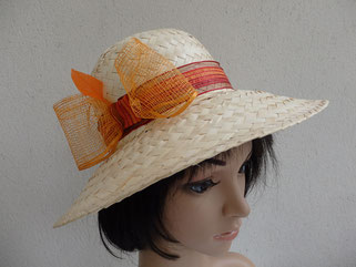 Chapeau paille décor noeud orange