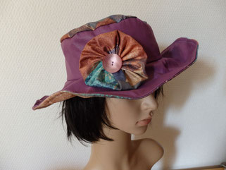 chapeau tissu orange wax