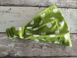 Haarband Bandana Kopftuch Herz Herzen grün handgemacht Handarbeit handmade SaSch Selbstgefertigtes aus Schwaben