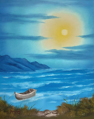 """Sonnenuntergang am Meer, Öl auf Strukturpapier. Handgemaltes Landschaftsgemälde by Daninas-Kunst-Werkstatt. Kennen Sie den gesundheitlichen Aspekt, weshalb Sie unbedingt Naturbilder """"mit Gewässer"""" an Ihre Wand hängen sollten? Nein? Dann schauen Sie doc"""