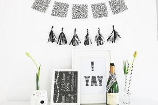 Bild: DIY Deko für die Party oder Hochzeit selber machen - finde kreative Ideen für schöne Dekoration zum selber basteln auf www.partystories.de // DIY Deko Ideen mit Servietten
