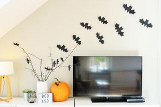 Bild: DIY Partydeko für Halloween, Fledermaus Bastelvorlage