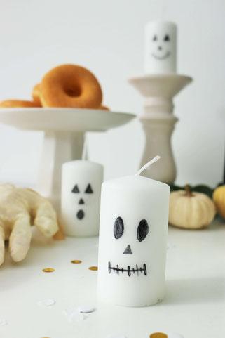 Bild: Ideen für DIY Halloween Dekoration - mit diesen 3 Anleitungen ganz einfach Halloween Geister Deko selber machen und basteln: Girlande, Kerzen, Flaschen für den Halloween Sweettable // www.partystories.de // #halloween #halloweendiy #diydeko #diyblog