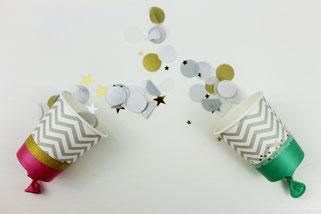 Bild: Ideen für Silvester und die Silvesterparty, DIY Konfettikanonen, Konfetti Kanonen einfach und günstig selber basteln aus Pappbecher