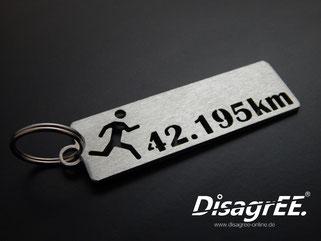 Edelstahl Schlüsselanhänger Marathon Laufen 42,195km gebürstet
