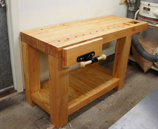Roubo workbench with face vise and wagon vise