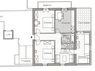 Grundriss Ferienwohnung / Apartment 1 Hotel garni Domino Saas-Fee