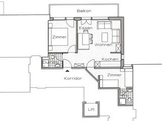 Grundriss Ferienwohnung / Apartment 2 Hotel garni Domino Saas-Fee