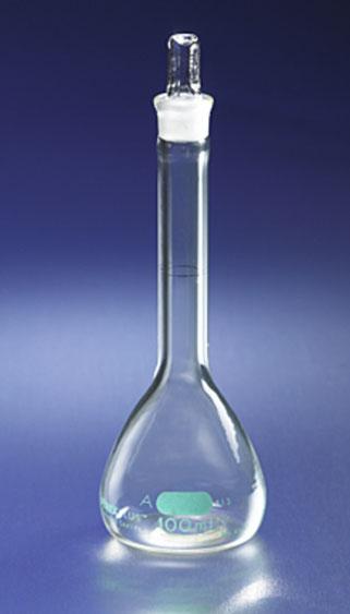 No 65640 Matraz volumétrico clase PYREXPLUS®, revestimiento protector, con tapón cónico estándar PYREX®