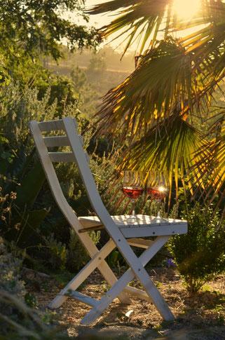 Den Sonnenuntergang mit einem Glas Wein genießen